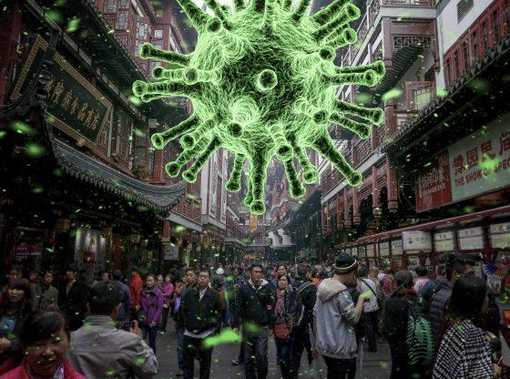 Großer Virus über Menschen (Urheber unbekannt)