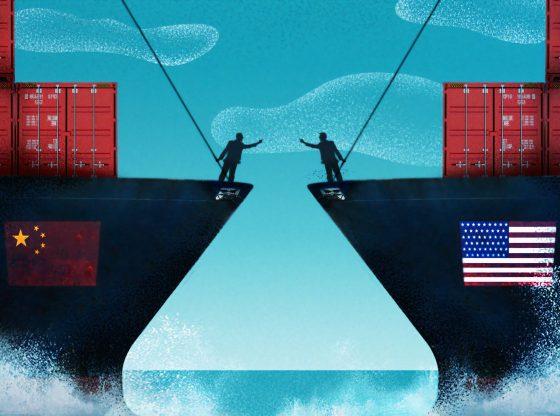 Bild Zwei Tankerschiffe mit Flaggen Chinas und USA (pixabay)